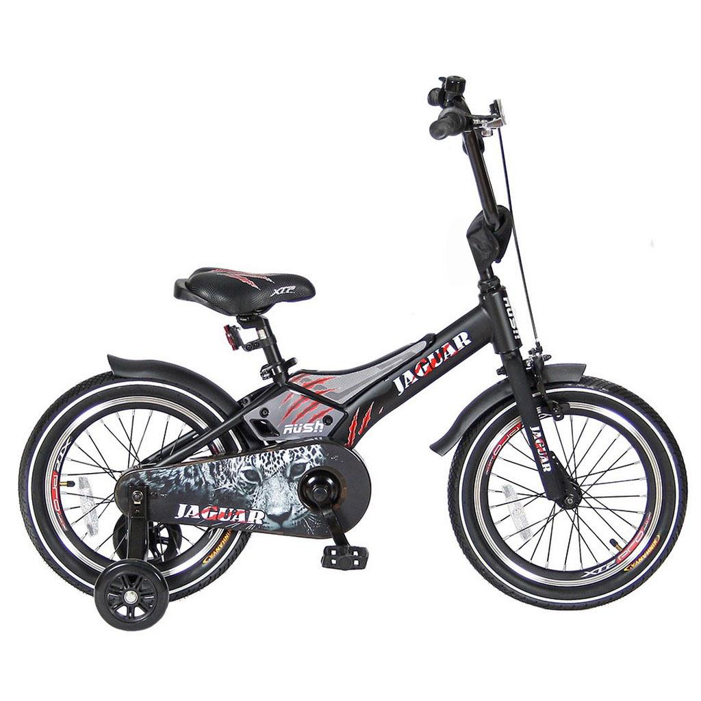Двухколесный велосипед Rush Jaguar диаметр колес 16 дюймов, черныйВелосипеды детские<br>Двухколесный велосипед Rush Jaguar диаметр колес 16 дюймов, черный<br>