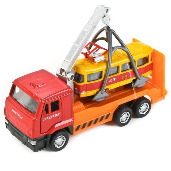 Купить Металлическая инерционная модель – КамАЗ эвакуатор и трамвай, 12 и 7, 5 см, Технопарк