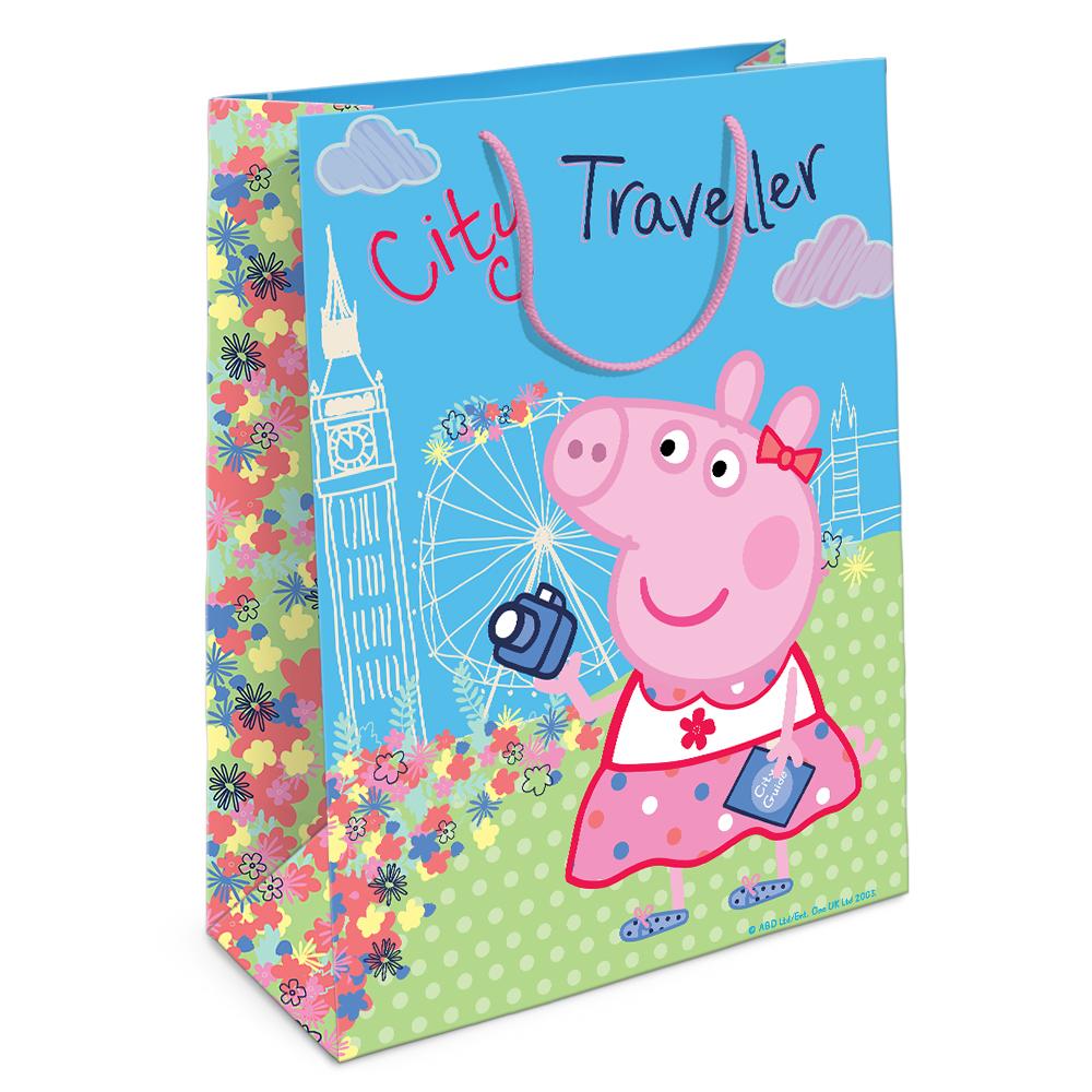 Купить Пакет подарочный – Свинка Пеппа на каникулах, 35 х 25 х 9 см., Росмэн