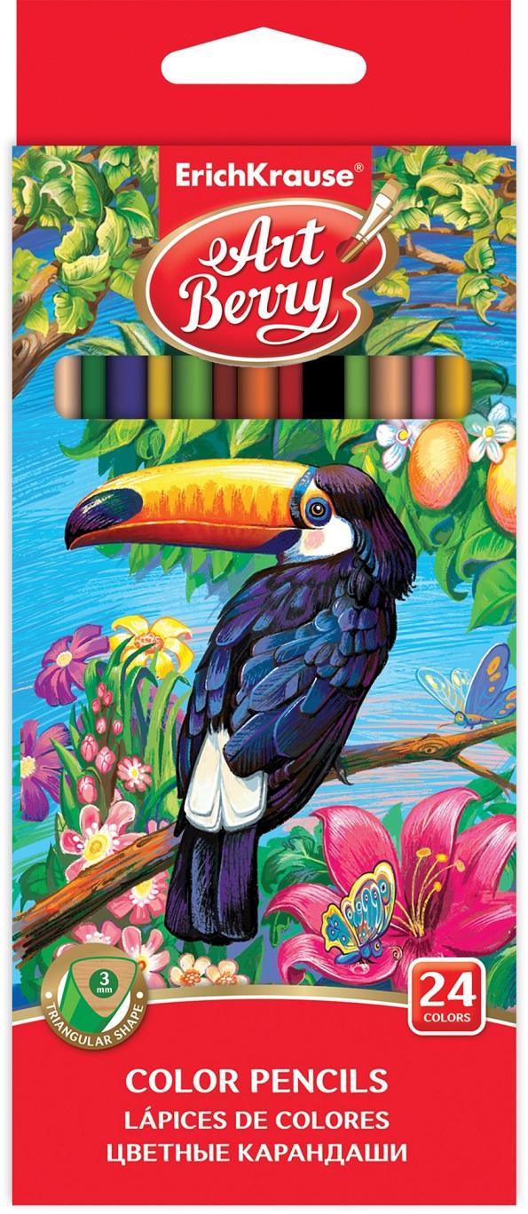 Карандаши цветные трехгранные ArtBerry 24 цвета