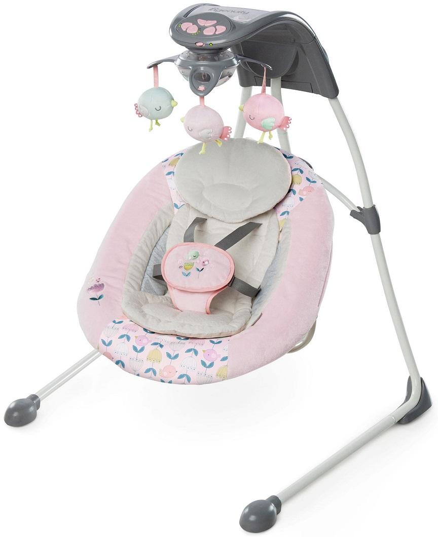 Детские качели Bright Starts Ingenuity, Розовые птички, с мягкими игрушками - Детские Кресла-качалки, шезлонги, артикул: 164721