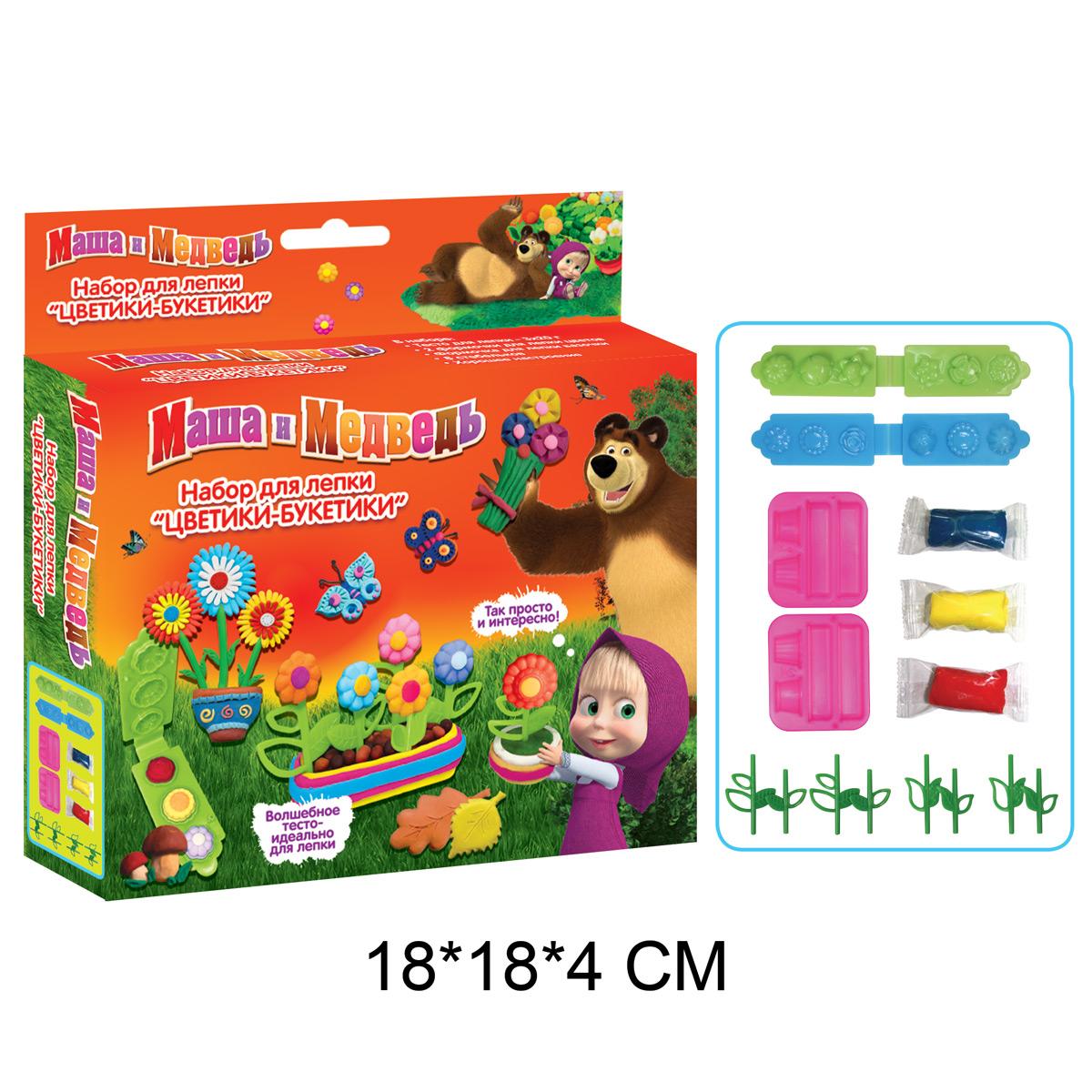 Набор для лепки Маша и Медведь - Цветики-букетикиМаша и медведь игрушки<br>Набор для лепки Маша и Медведь - Цветики-букетики<br>