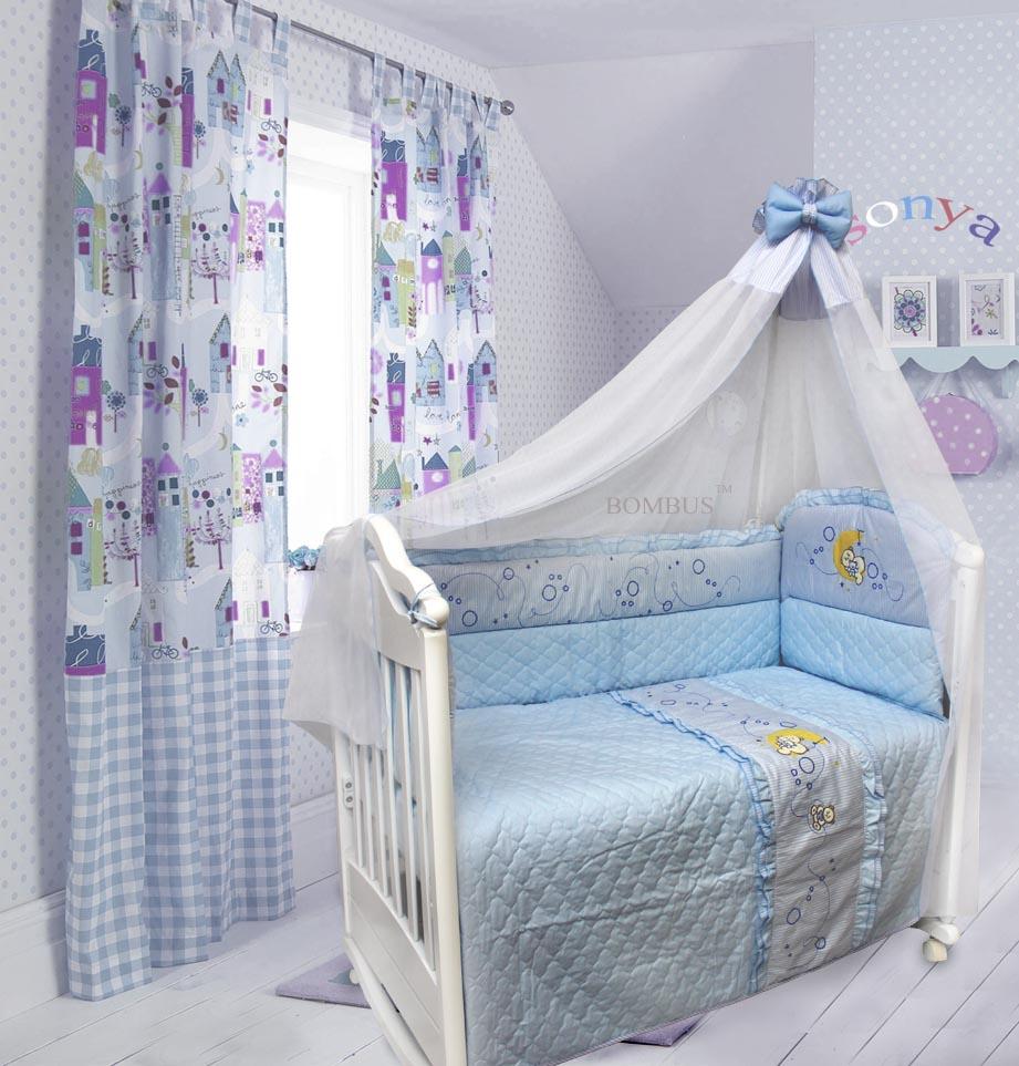 Комплект в кроватку – Соня, 6 предметов, голубойДетское постельное белье<br>Комплект в кроватку – Соня, 6 предметов, голубой<br>