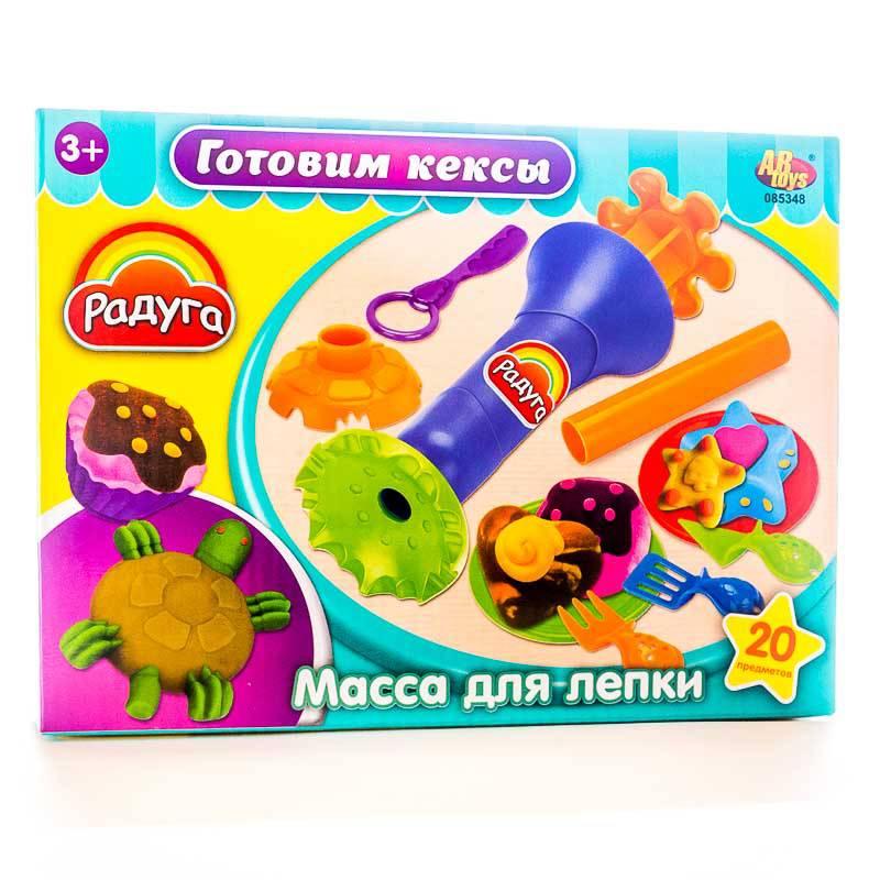 Масса для лепки - Готовим кексы, 4 баночки разных цветов с тематическими аксессуарамиНаборы для лепки<br>Масса для лепки - Готовим кексы, 4 баночки разных цветов с тематическими аксессуарами<br>