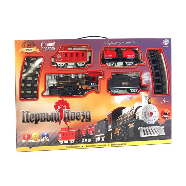 Железная дорога на батарейках, световые и звуковые эффекты, дым, длина 212 смДетская железная дорога<br>Железная дорога на батарейках, световые и звуковые эффекты, дым, длина 212 см<br>