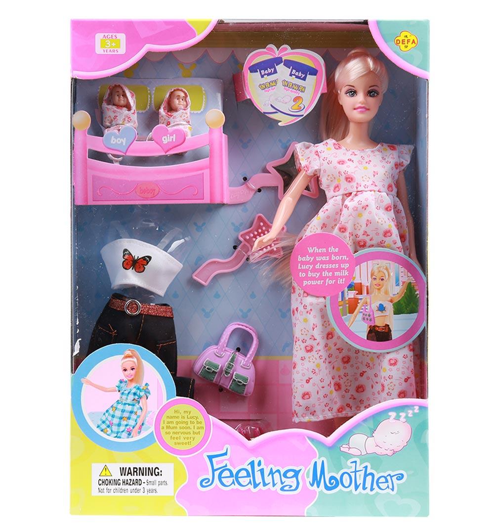 Купить Набор Defa - Мама с малышами, с аксессуарами и нарядом, высота куклы 29 см, Defa Lucy