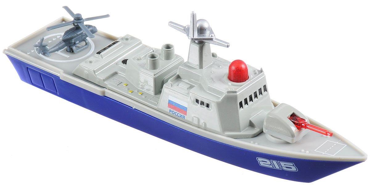 Инерционная металлическая модель – Военный корабль, 18 см, свет, звукВоенная техника<br>Инерционная металлическая модель – Военный корабль, 18 см, свет, звук<br>