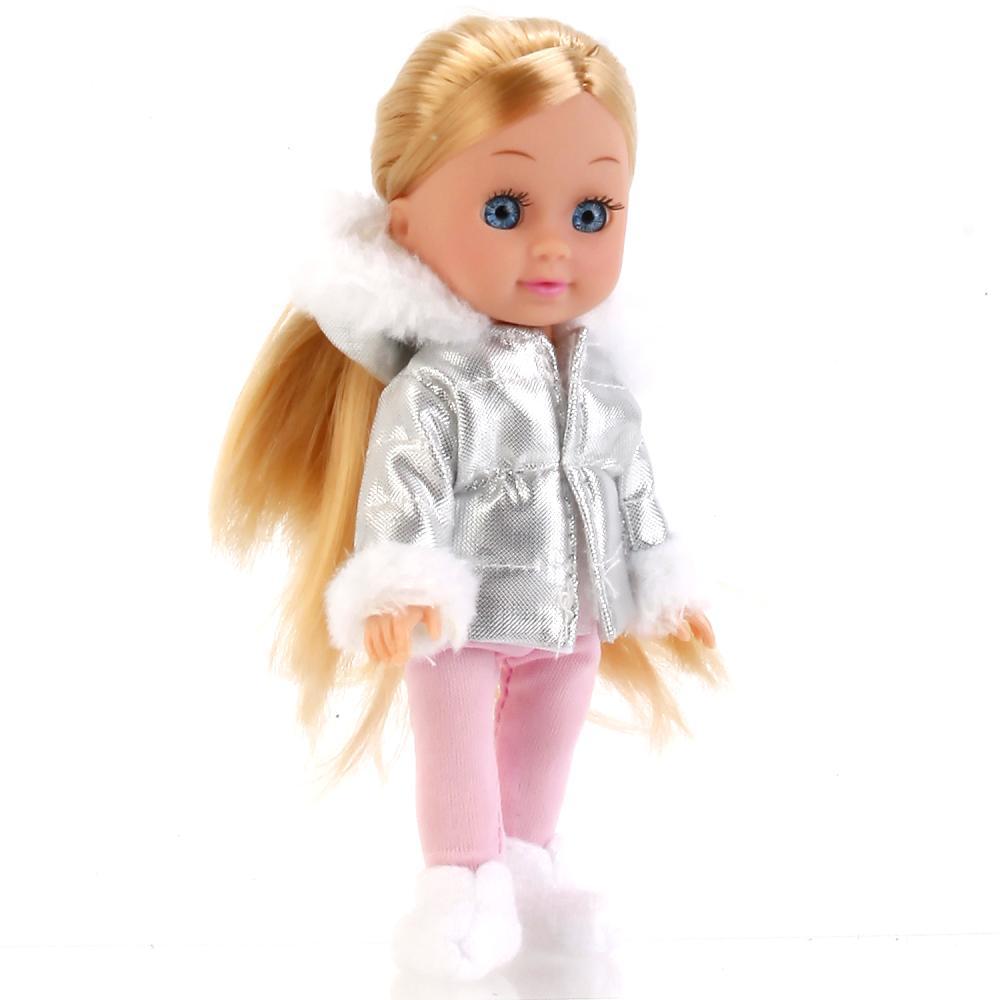 Интерактивная кукла Машенька 15 см. озвученная, в зимней одежде, с аксессуарами, несколько видов, Карапуз  - купить со скидкой