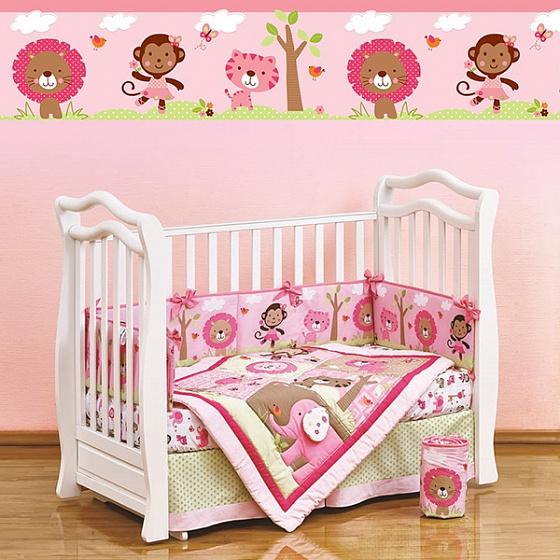 Набор постельного белья для новорожденных Pink Zoo, 7 предметовДетское постельное белье<br>Набор постельного белья для новорожденных Pink Zoo, 7 предметов<br>