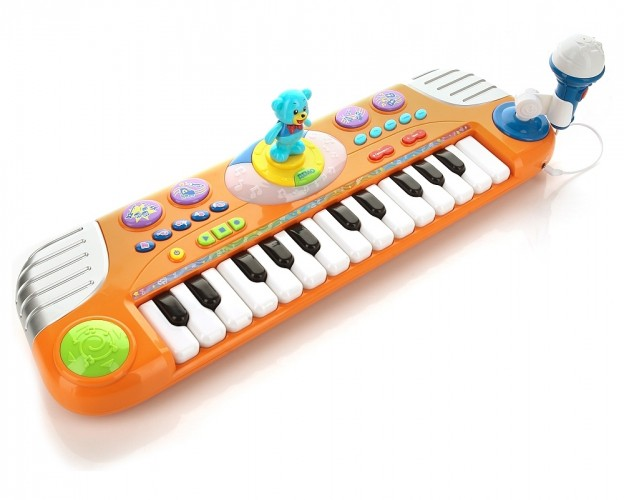 Пианино «Маша и медведь» на батарейках, со световыми эффектами и танцующим медведем - Синтезаторы и пианино, артикул: 123516