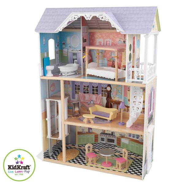 Трехэтажный дом из дерева для Барби – Кайли, с мебелью 10 предметовКукольные домики<br>Трехэтажный дом из дерева для Барби – Кайли, с мебелью 10 предметов<br>