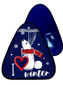 Купить Сани-ледянка треугольная – Зайчик, синий, 42х48 см, RT