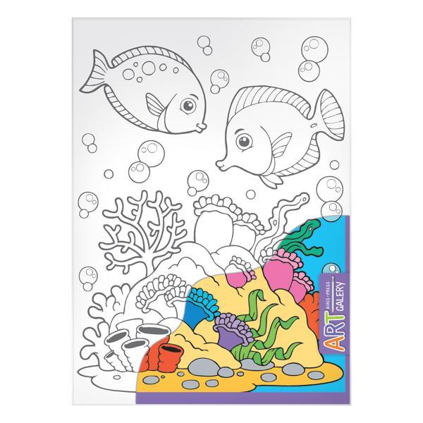 Раскраска на бумажном холсте из серии Арт Галерея средняя – Морское дноРоспись по холсту<br>Раскраска на бумажном холсте из серии Арт Галерея средняя – Морское дно<br>