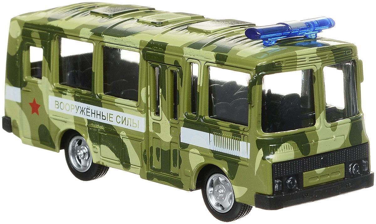 Инерционный металлический автобус ПАЗ - ВоенныйАвтобусы, трамваи<br>Инерционный металлический автобус ПАЗ - Военный<br>
