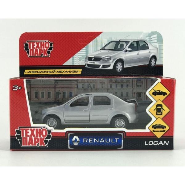 Купить Металлическая инерционная машина - Renault Logan, серебристый, 12 см, Технопарк