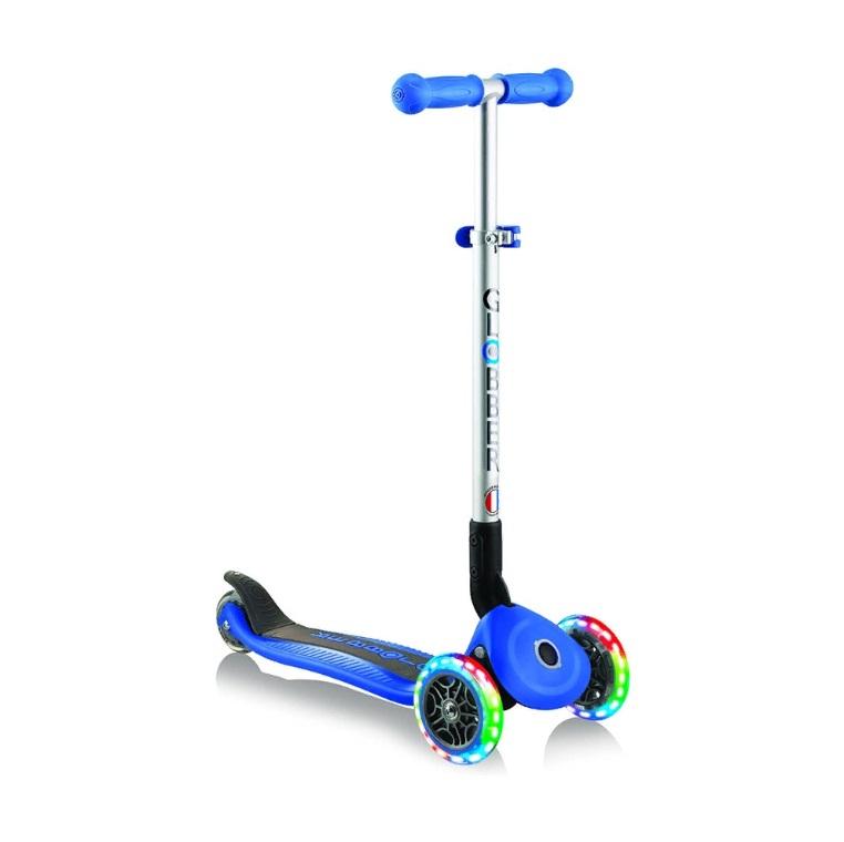 Купить Трехколесный самокат Globber Primo Foldable Lights, синий, светящиеся колеса