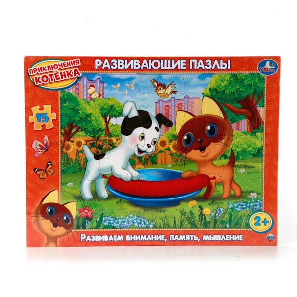 Развивающие пазлы в рамке - Приключение котенка, 15 элементовПазлы для малышей<br>Развивающие пазлы в рамке - Приключение котенка, 15 элементов<br>