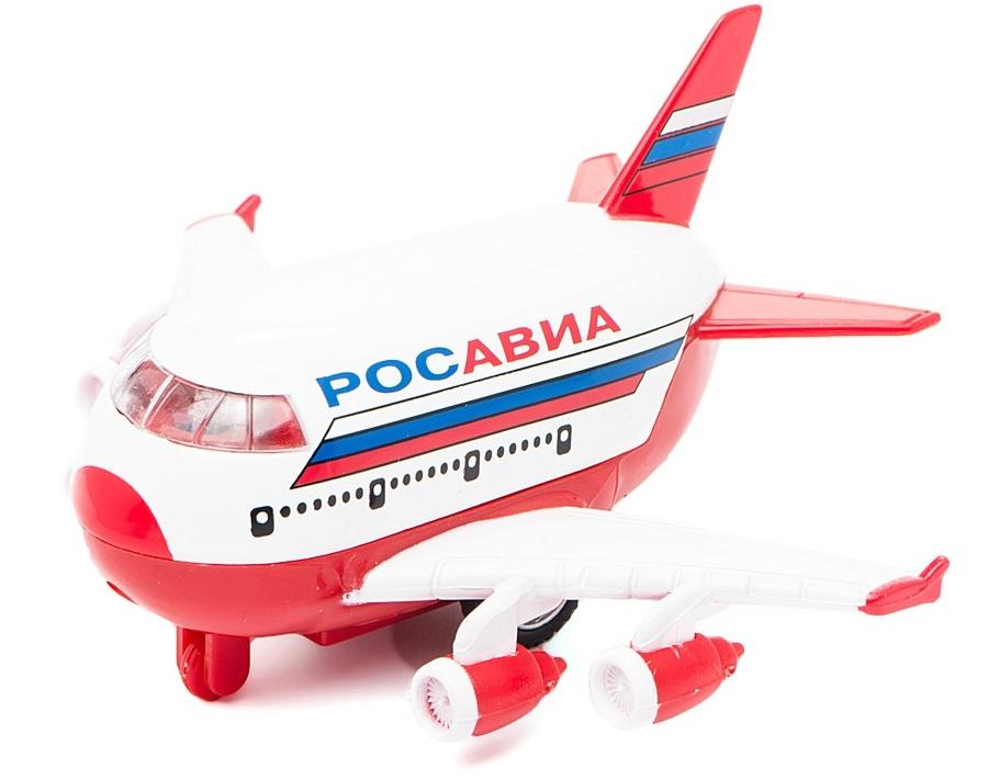 Купить Самолет Росавиа , металлический инерционный со светом и звуком, 1:43, Технопарк