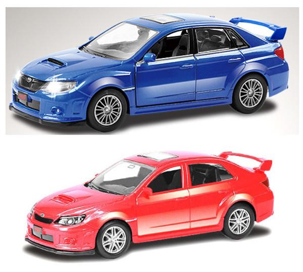 Машина металлическая Subaru WRX STI, 1:64, 2 цвета – синий и красныйSubaru<br>Машина металлическая Subaru WRX STI, 1:64, 2 цвета – синий и красный<br>