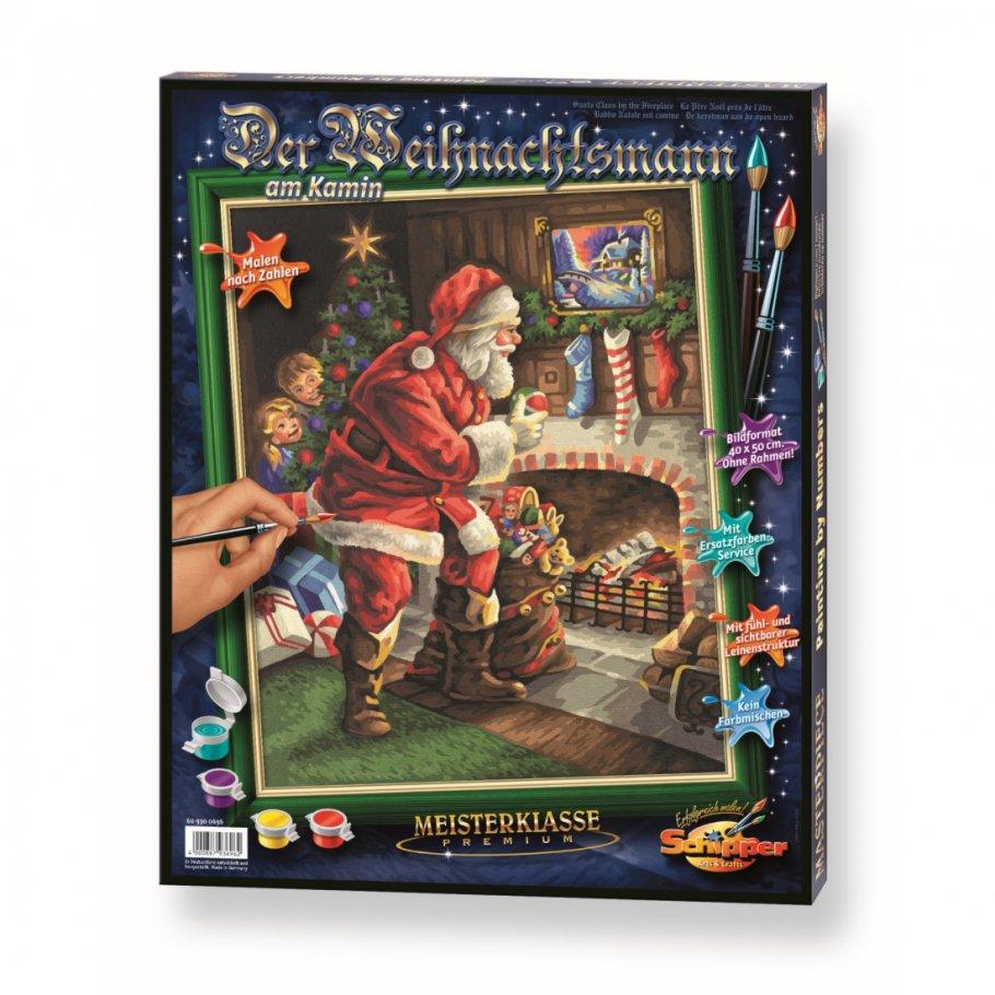 Купить Раскраска по номерам – Санта Клаус у камина, 40 х 50 см, Schipper