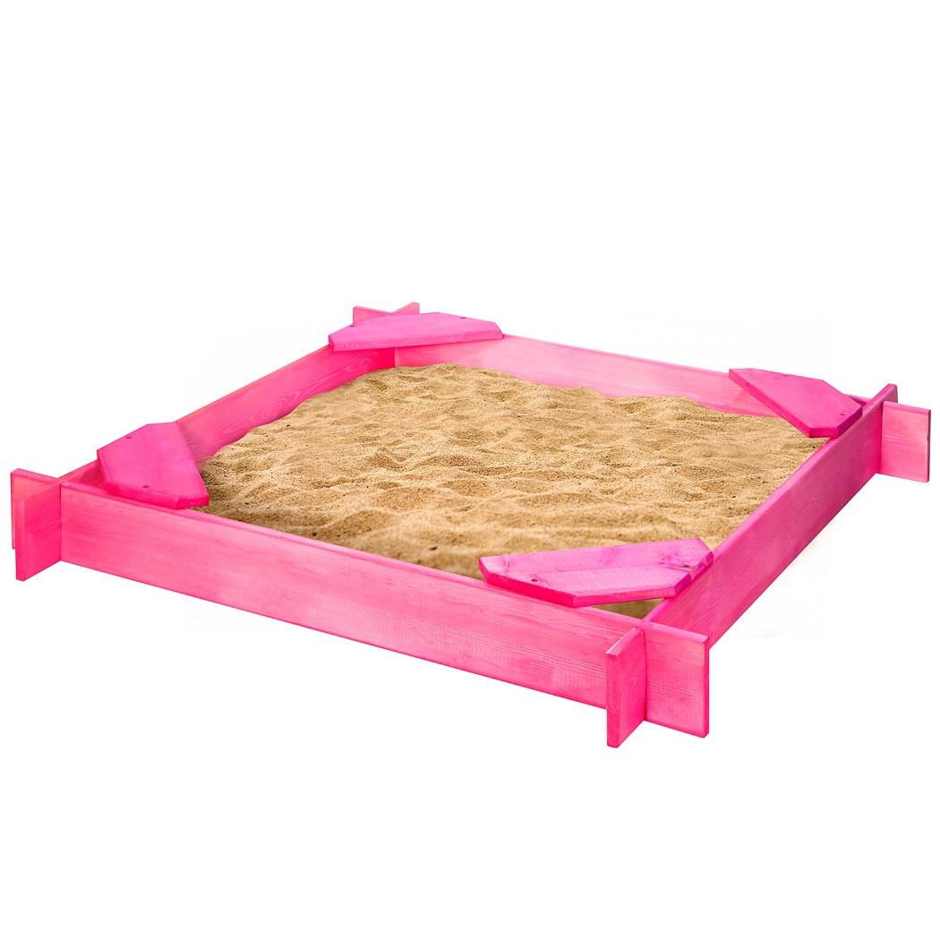 Деревянная песочница Нимфа 4 сиденья, пропитка, цвет розовый фото