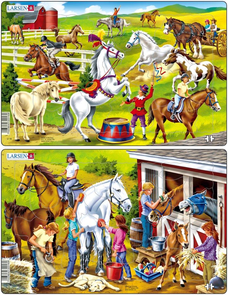 Купить Пазл – Лошади, 25 деталей, 2 вида, Larsen