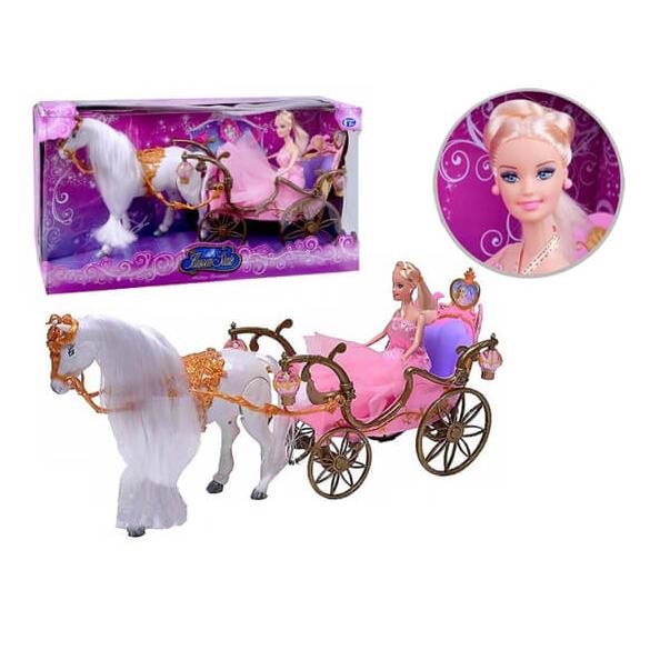 Карета для принцессы с лошадью и куклой, свет и звукТранспорт для кукол<br>Карета для принцессы с лошадью и куклой, свет и звук<br>
