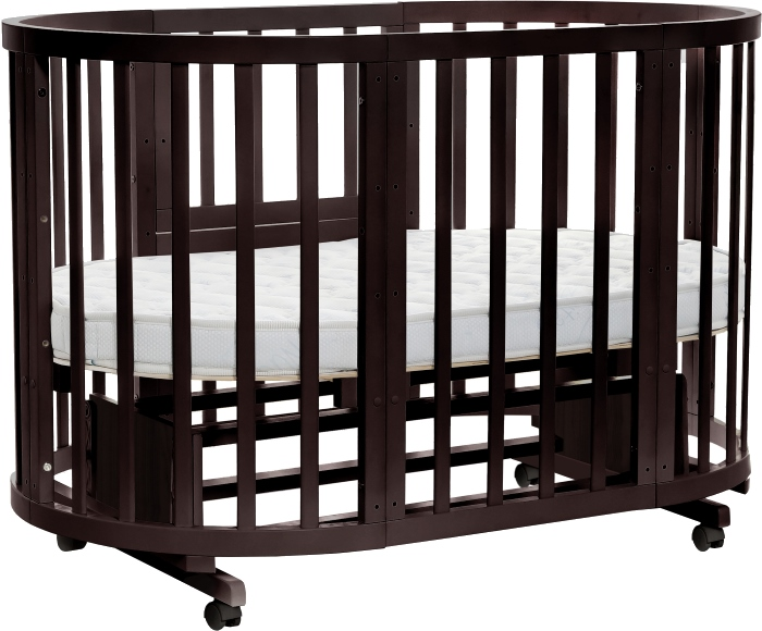 Круглая кроватка-трансформер Noony Cozy, цвет – венгеДетские кровати и мягкая мебель<br>Круглая кроватка-трансформер Noony Cozy, цвет – венге<br>