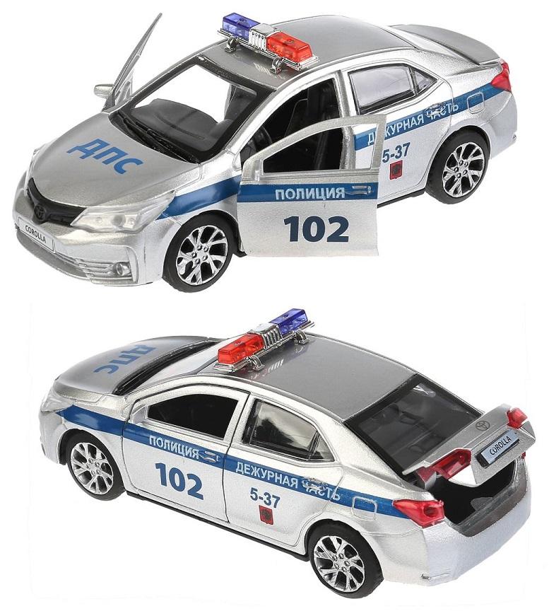 Купить Машинка металлическая инерционная – Toyota Corolla Полиция, 12 см., открываются двери и багажник, Технопарк