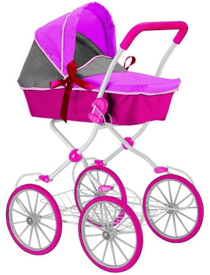 Кукольная коляска, цвет фуксия и серыйКоляски для кукол<br>Кукольная коляска, цвет фуксия и серый<br>