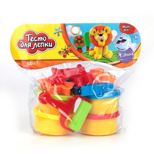 Набор - Тесто для лепки, 4 цвета, формочкиНаборы для лепки<br>Набор - Тесто для лепки, 4 цвета, формочки<br>