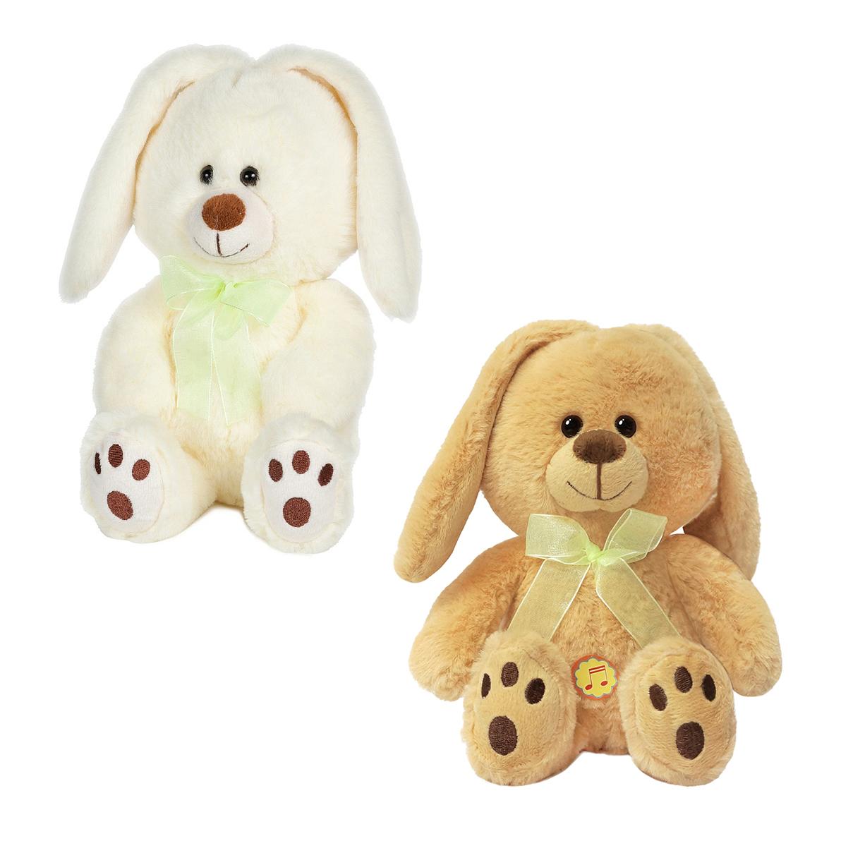 Купить Мягкая игрушка – Зайка-беляк с бантиком, 20 см, звук, MaxiToys