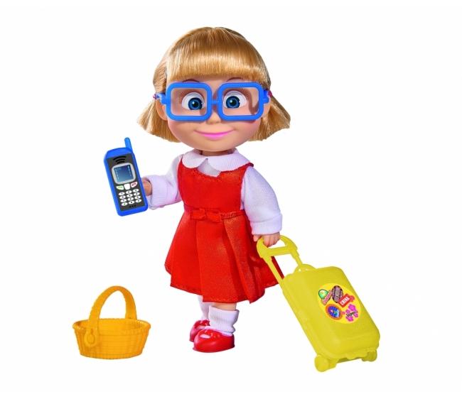 Кукла Маша с чемоданчиком, корзинкой и телефоном, 12 см. - Маша и медведь игрушки, артикул: 172210
