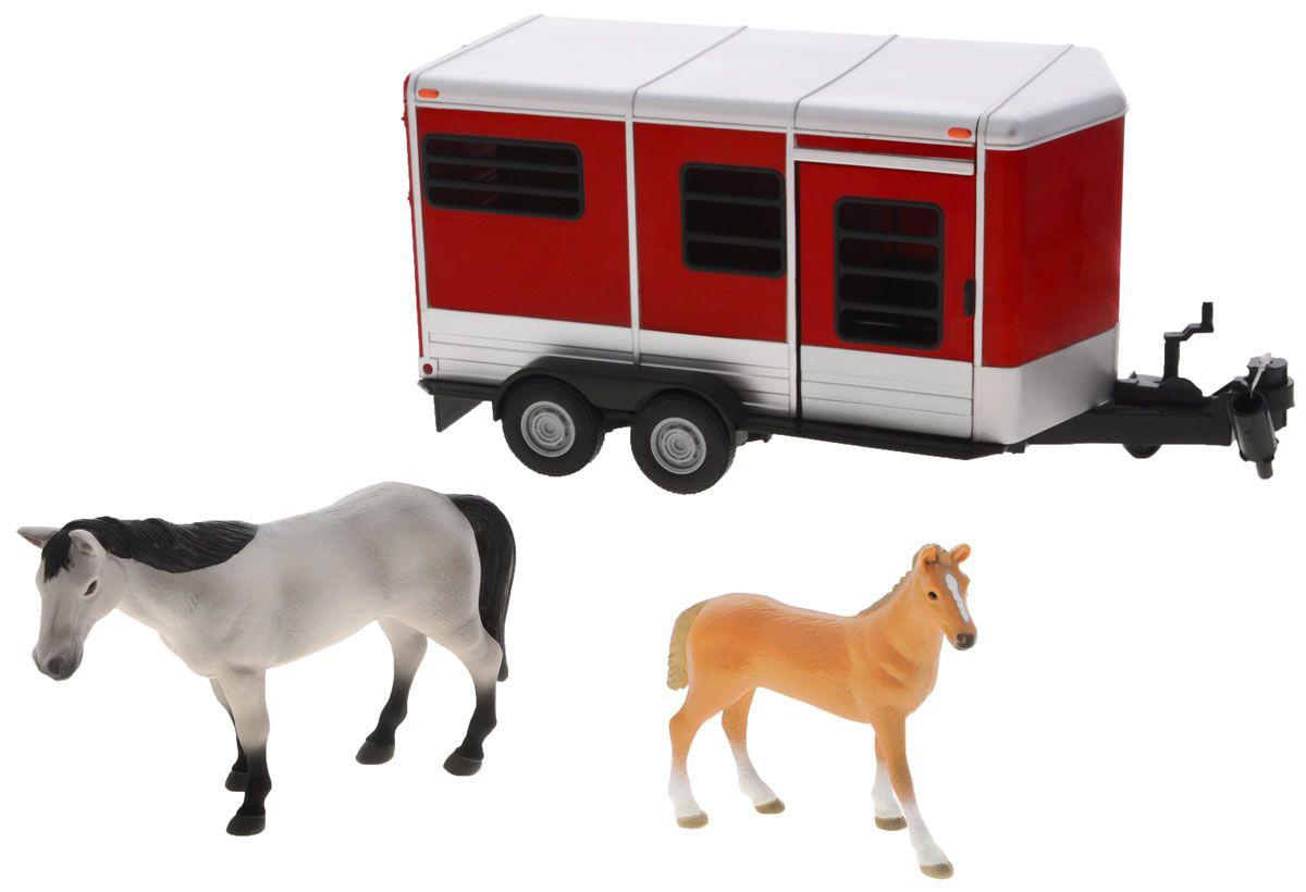 Прицеп для перевозки лошадей с лошадью и жеребенкомТрейлеры<br>Прицеп для перевозки лошадей с лошадью и жеребенком<br>