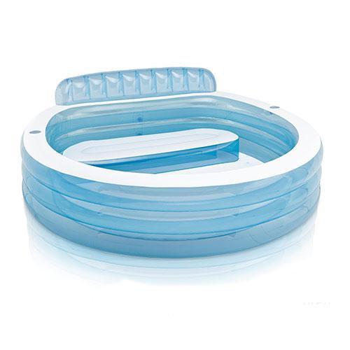 Купить Надувной бассейн семейный с сиденьем и спинкой, 224 х 216 х 76 см., Intex