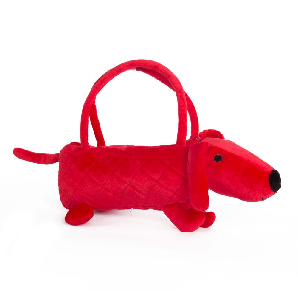 Собачка-сумочка красная, 35 см. - Детские сумочки, артикул: 172219