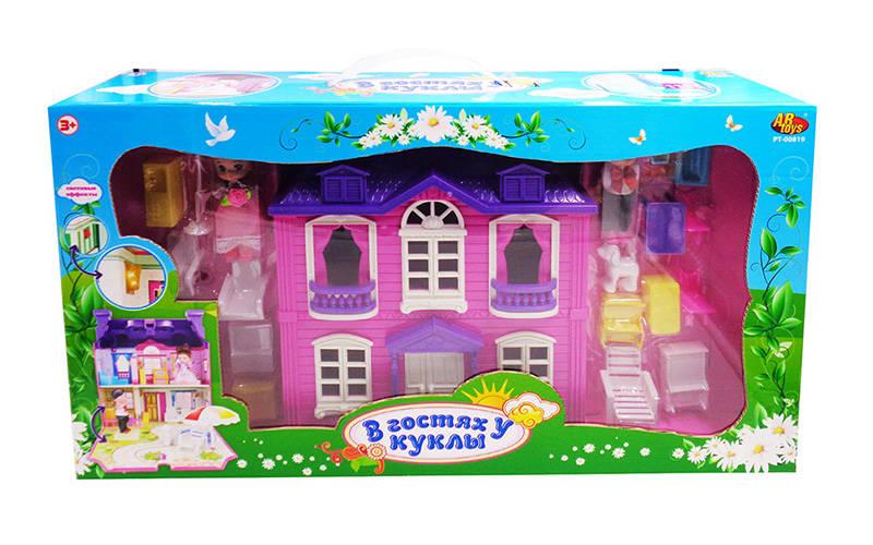 Дом - В гостях у куклы, 2 вида, с набором аксессуаров, световые эффектыКукольные домики<br>Дом - В гостях у куклы, 2 вида, с набором аксессуаров, световые эффекты<br>