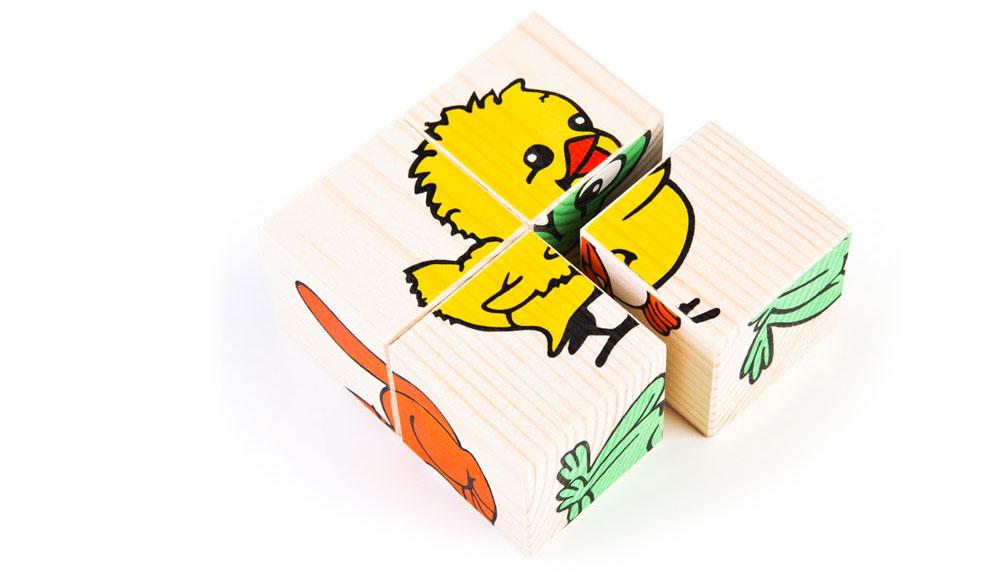 Набор из 4-х кубиков - Животные из серии Собери картинкуКубики и конструкторы<br>Набор из 4-х кубиков - Животные из серии Собери картинку<br>
