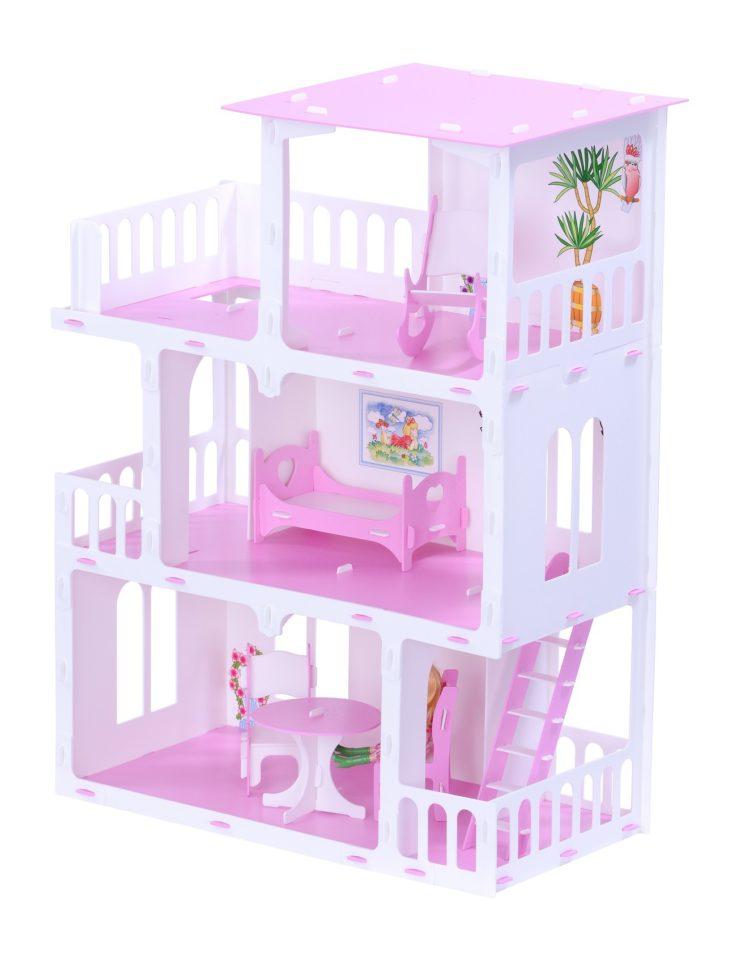 Домик для кукол - Маргарита, бело-розовый, с мебелью