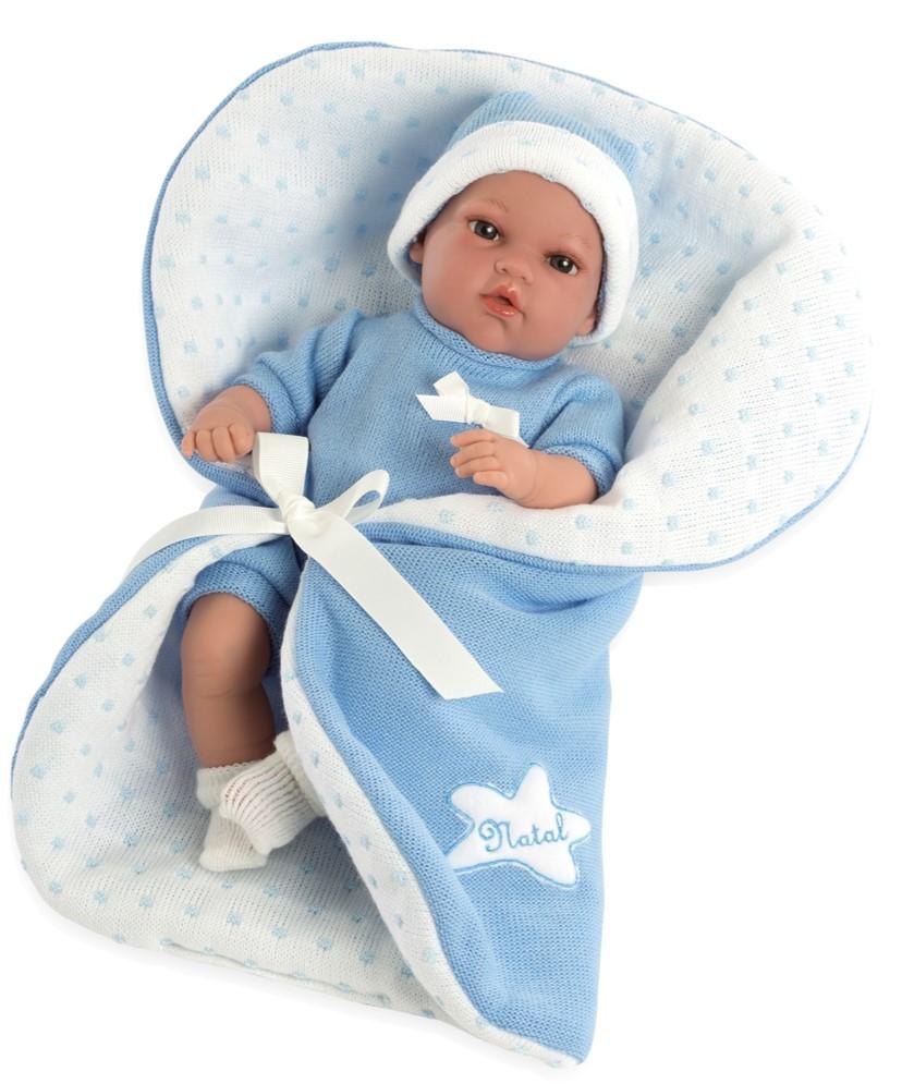 Купить Пупс из серии Elegance 33 см. в одежде, мягкое тело с голубым одеялом и соской, плачет, Arias