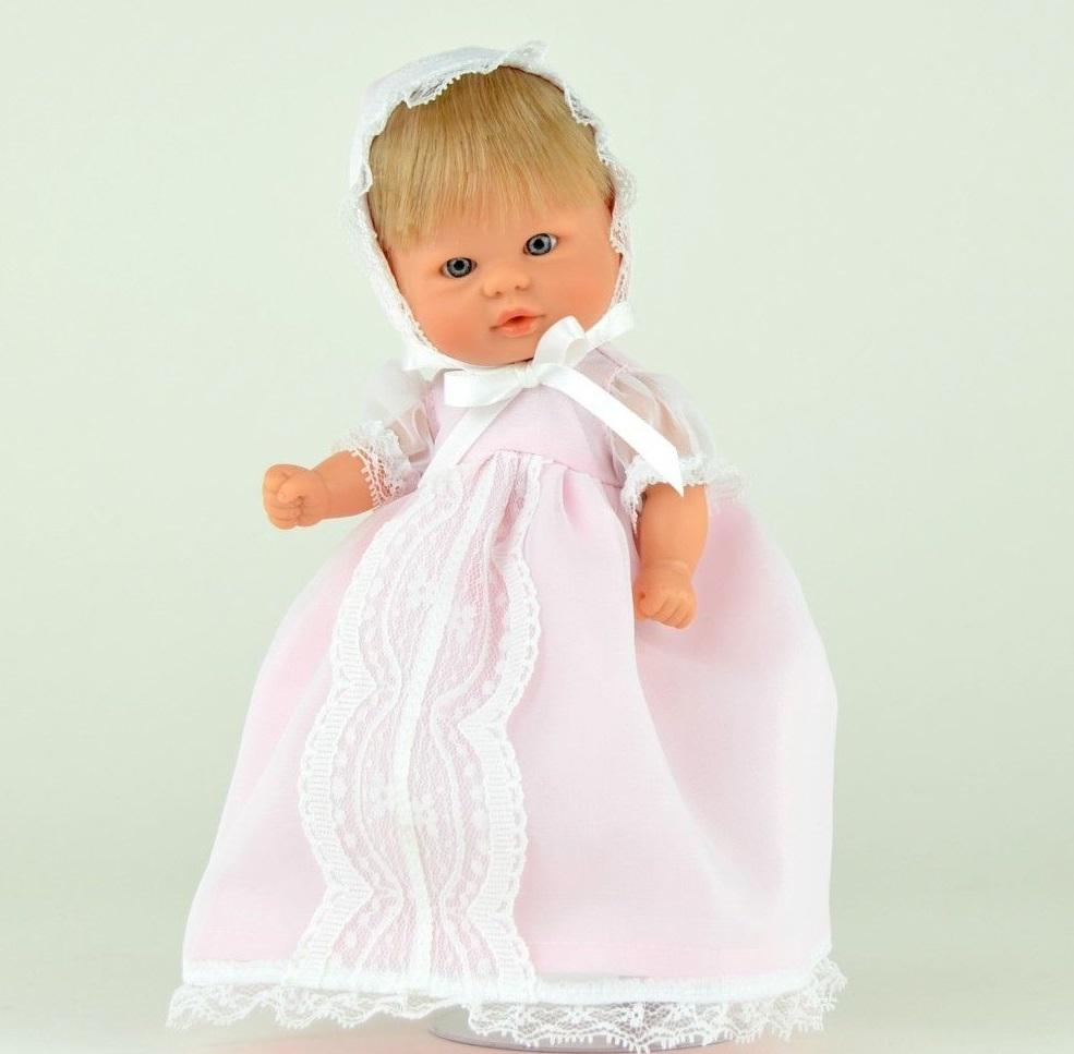 Кукла пупсик в розовом платье, 20 см.Куклы ASI (Испания)<br>Кукла пупсик в розовом платье, 20 см.<br>