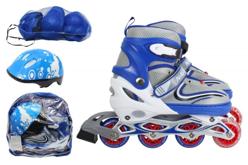 Купить Коньки роликовые раздвижные в комплекте с защитой и шлемом, со светом, L, синие, 1TOY