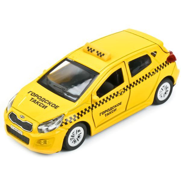 Купить Металлическая инерционная машина – Kia Ceed Такси, 12 см, открывающиеся двери и багажник, Технопарк
