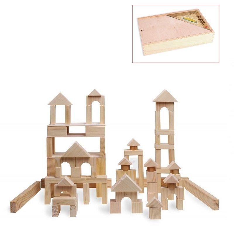 Деревянный конструктор, 85 деталей, неокрашенныйДеревянный конструктор<br>Деревянный конструктор, 85 деталей, неокрашенный<br>