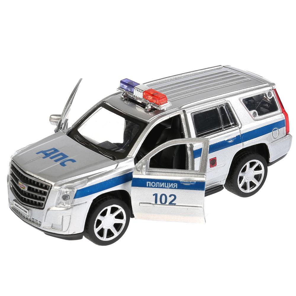 Купить Машина металлическая Cadillac Escalade Полиция, 12 см, открываются двери, инерционная, Технопарк