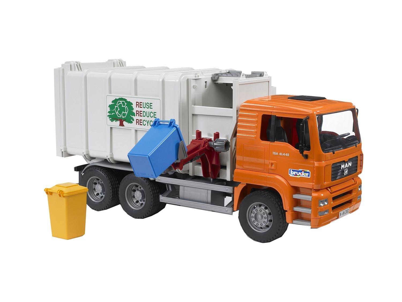 Мусоровоз Bruder MAN с боковой загрузкой мусорных корзинМусоровозы<br>Мусоровоз Bruder MAN с боковой загрузкой мусорных корзин<br>
