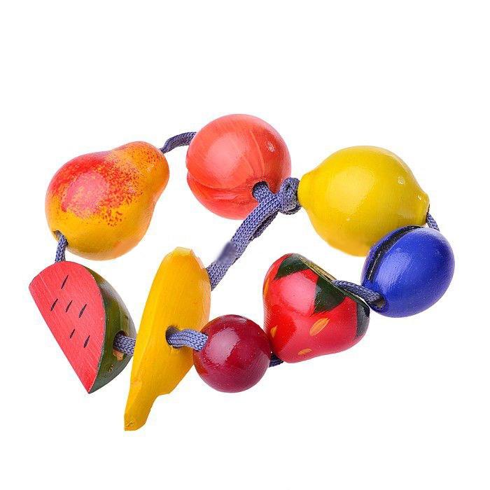 Деревянная игрушка – Бусы - ФруктыШнуровка<br>Деревянная игрушка – Бусы - Фрукты<br>