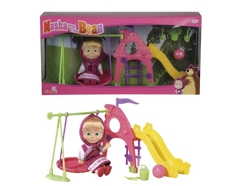 Маша с детской игровой площадкой и аксессуарами - Маша и медведь игрушки, артикул: 126713