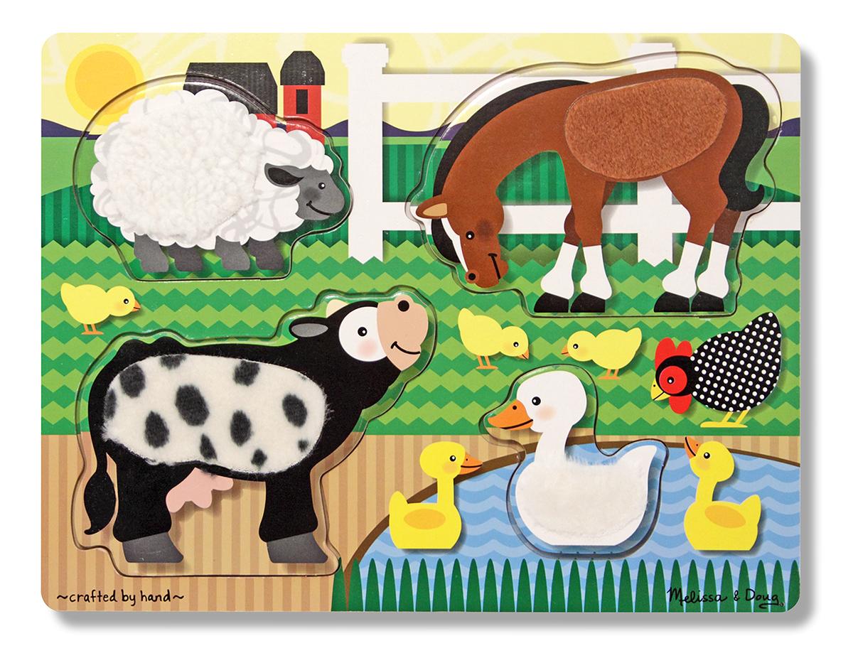 Купить Мои первые пазлы из серии Потрогай и почувствуй – Ферма, 4 элемента, Melissa&Doug