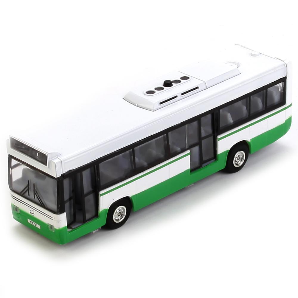 Автобус металлический 17 см, свет и звук, инерционный фото